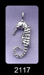 Sterling Silver Seahorse Pendent, Bailed 3D