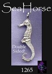 Sterling Silver Seahorse Pendant, Bailed Double-Sided