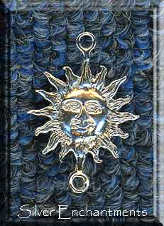 Sterling Silver Sun Pendant with Loop, Medieval