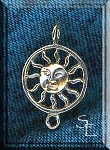 Sterling Silver Bailed Sun with Loop, Ringed Sun
