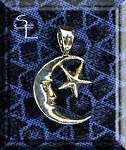 Sterling Silver Moon-Star Charm, Bailed