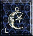 Sterling Silver Moon Charm with Star, Crescent Moon