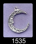 Sterling Silver Crescent Moon Pendant, Double-sided