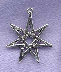 Sterling Silver Septagram Pendant, 7-pointed Star