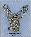 Sterling Silver Celtic Dragon Y Necklace Centerpiece - CLEARANCE
