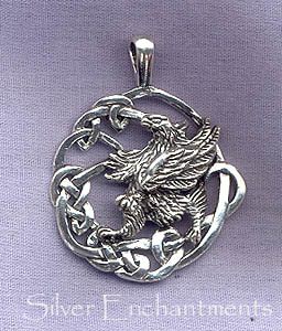 Sterling silver celtic gryphon pendant celtic griffin necklace sterling silver celtic gryphon necklace aloadofball Images