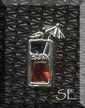 Sterling Silver Tropical Drink Charm with Cognac Amber CZ