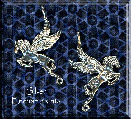 Sterling Silver Pegasus Pendant, Bailed Double-Sided with Loop