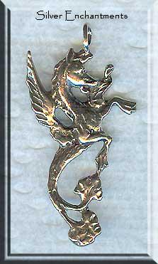 Sterling Silver Hippocampus Pendant Fantasy Mer Horse