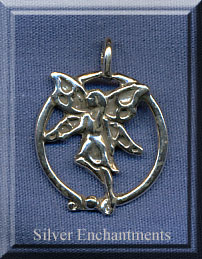 Sterling Silver Bailed Ringed Fairy Pendant, Fairy Jewelry