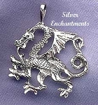 Sterling Silver Dragon Pendant, Bailed Guardian Dragon