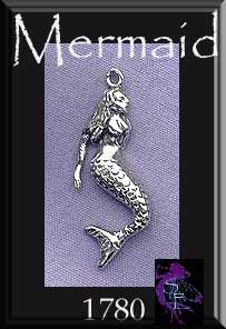 Sterling Silver Mermaid Pendant, Sea Siren