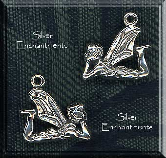 Sterling Silver 3D Lounging Fairy Pendant