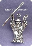 Sterling Silver Wizard Pendant, 3D Wizard with Staff