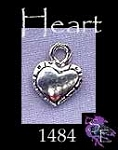 Sterling Silver Heart Charm, 3D Double-sided Country Heart