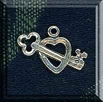 Sterling Silver Key to My Heart Charm, Key Charm, Heart Charm