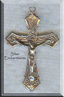 Sterling Silver Fancy Crucifix Pendant with Wheat, Grapes and Knot Detailing, Catholic Rosary Necklace