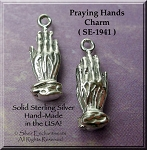 Sterling Silver Praying Hands Charm, 3D Prayer Jewelry