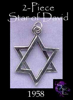 Jewish Sterling Silver 2-Piece Star of David Pendant, Magen Star Jewelry