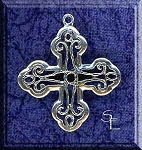Sterling Silver Scroll Crusader Cross Pendant