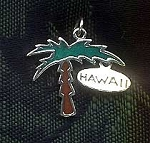 Sterling Silver Palm Tree Pendant, Enameled Hawaii Palm Tree Jewelry