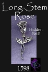Sterling Silver Rose Pendant, Bailed Long Stem Rose