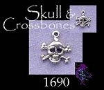 Sterling Silver Skull and Crossbones Charm, Small Jolly Roger Pirate
