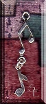 Music Notes Pendant, Sterling Silver Dangling