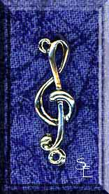 Sterling Silver Treble Clef with Loop, Musician Jewelry Connector