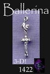 Sterling Silver Ballerina Charm, 3D