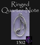 Sterling Silver Music Note Pendant, Eighth Note