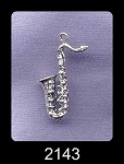 Sterling Silver Saxophone Charm-Pendant, 3D