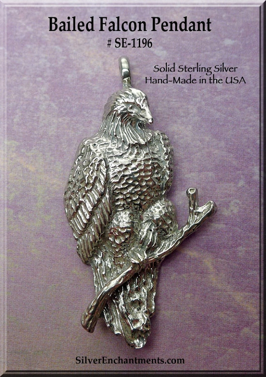 Sterling Silver Falcon Pendant Bailed Lg