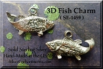 Sterling Silver Fish Charm, 3D