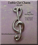 Sterling Silver Treble Clef Charm, 3D Musician