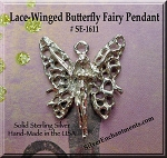 Sterling Silver Fairy Pendant, Lace Winged Butterfly Fairy