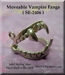 Sterling Silver Vampire Fangs Charm, 3D Moveable Vampire Fangs Necklace
