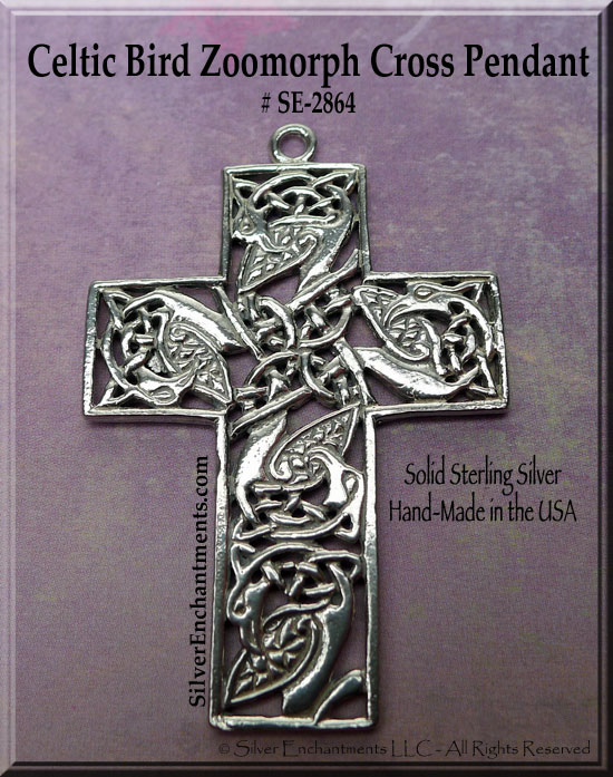 Sterling Silver Fancy Large Celtic Cross Pendant with Entwined Birds