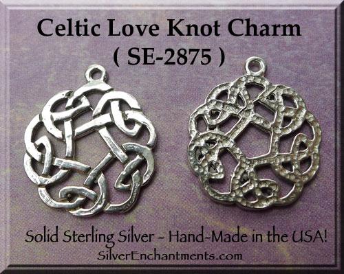 Sterling Silver Celtic Love Knot Charm Celtic Knot Necklace