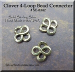 Sterling Small Clover Connector, 4-Loop Shamrock Beading Finding, 8mm (1)