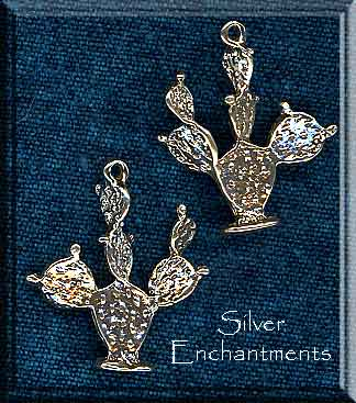 Sterling Silver Cactus Pendant, 3D Prickly Pear