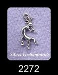 Sterling Silver Small Kokopelli Necklace, 16x10mm Kokopelli Charm Necklace, Southwestern Jewelry