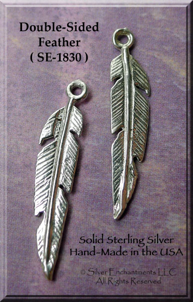 Sterling Silver Feather Charm-Pendant, Feather Jewelry