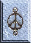 Sterling Silver Peace Sign with Loop, Small Jewelry Connector