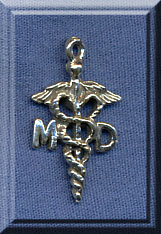 Sterling Silver MD Charm, Caduceus Charm, Medical Jewelry