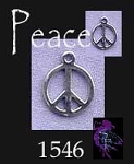 Sterling Silver Peace Charm, Small Peace Sign