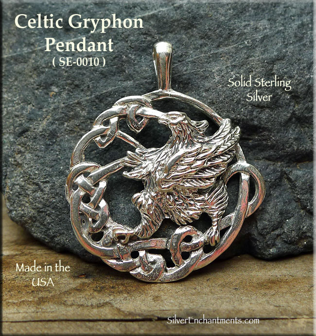 Sterling silver celtic gryphon pendant celtic griffin necklace mozeypictures Image collections