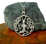 Sterling Silver Cernunnos Pendant, Celtic Horned God Druid-Pagan Necklace
