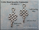 Sterling Silver Celtic Witch Knot Jewelry Connector, Celtic Jewelry Finding