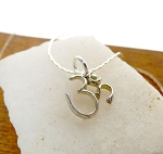 Sterling Silver Om Charm, Yoga and Meditation Necklace